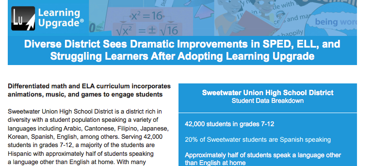 Learning Upgrade English Learners SPED Sweetwater